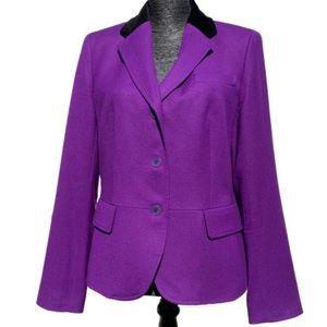 Talbots purple wool blazer w/ black velvet collar